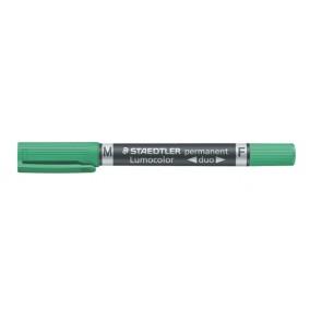 "Alkoholos marker, F/M, 0,6/1,5 mm, kúpos, kétvégű, STAEDTLER ""Lumocolor Duo"", zöld"