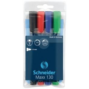 """Alkoholos marker készlet, 1-3 mm, kúpos, SCHNEIDER """"Maxx 130"""", 4 különböző szín"""