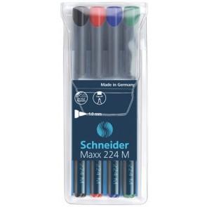 """Alkoholos marker készlet, OHP, 1 mm, SCHNEIDER """"Maxx 224 M"""", 4 különböző szín"""