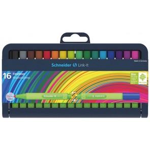 """Tűfilc készlet, 0,4 mm, SCHNEIDER """"Link-it"""", összeilleszthető, 16 különböző szín"""