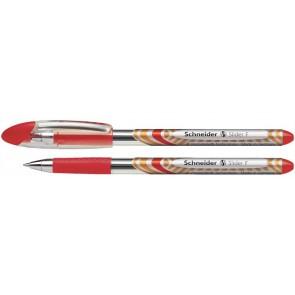 """Golyóstoll, 0,3 mm, kupakos, SCHNEIDER """"Slider Basic F"""", piros"""