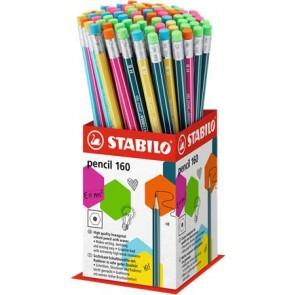 "Grafitceruza radírral display, HB, hatszögletű, STABILO ""Pencil 160"""