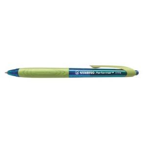 """Golyóstoll, 0,38 mm, nyomógombos, zöld fogórész, STABILO """"Performer+"""", kék"""
