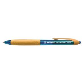 """Golyóstoll, 0,38 mm, nyomógombos, narancssárga fogórész, STABILO """"Performer+"""", kék"""