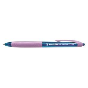 """Golyóstoll, 0,38 mm, nyomógombos, rózsaszín fogórész, STABILO """"Performer+"""", kék"""