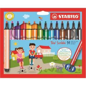 """Filctoll készlet, 1,5-2 mm, rugós hegy, STABILO """"Trio Scribbi"""", 14 különböző szín"""