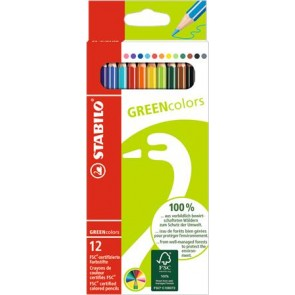 """Színes ceruza készlet, hatszögletű, STABILO """"GreenColors"""", 12 különböző szín"""