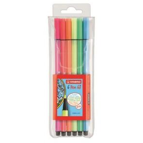 """Rostirón készlet, 1 mm, STABILO """"Pen 68"""", 6 neon szín"""