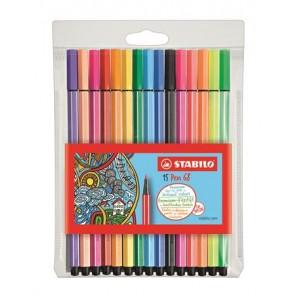 """Rostirón készlet, 1 mm, STABILO """"Pen 68"""", 15 különböző szín"""