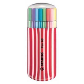 """Rostirón készlet, 1 mm, piros tok, STABILO """"Pen 68 Zebrui"""", 20 különböző szín"""