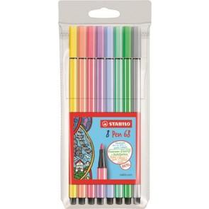 """Rostirón készlet, 1 mm, STABILO """"Pen 68"""", 8 pasztell szín"""