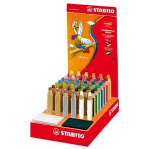 """Színes ceruza display, kerek, vastag, STABILO """"Woody"""", vegyes"""