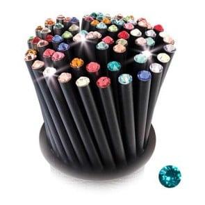 Ceruza, fekete, türkiz SWAROVSKI® kristállyal, 5db-os szett, 17cm, ART CRYSTELLA®