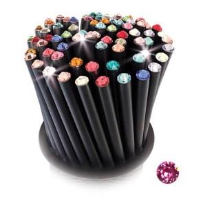 Ceruza, fekete, rózsaszín SWAROVSKI® kristállyal, 5db-os szett, 17cm, ART CRYSTELLA®