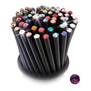 Ceruza, fekete, bíbor lila SWAROVSKI® kristállyal, 5db-os szett, 17cm, ART CRYSTELLA®