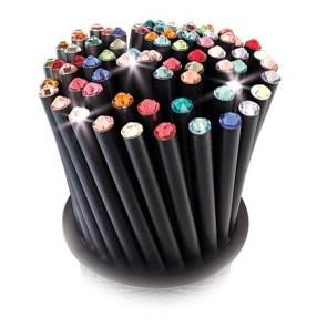 Ceruzák tartóban, vegyes színű SWAROVSKI® kristállyal, 50db-os szett, ART CRYSTELLA®