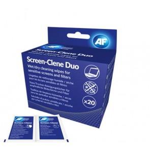 """Tisztítókendő, képernyőhöz, 20 db nedves-száraz kendőpár, AF """"Screen-Clene Duo"""""""