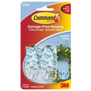 """Műanyag akasztó ragasztócsíkkal, ovális, M, 3M SCOTCH """"Command"""", átlátszó"""