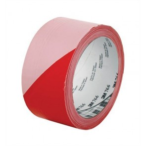 Ipari jelzőszalag, 50mm x 33m, 3M, piros-fehér