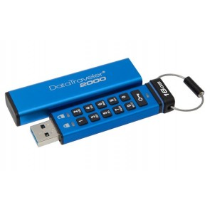 "Pendrive, 16GB, USB 3.0, Keypad, KINGSTON ""DT2000"", kék"