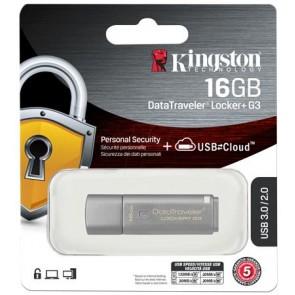 """Pendrive, 16GB, USB 3.0, 135/20 MB/s, jelszavas védelemmel, KINGSTON """"DTLPG3"""", ezüst"""