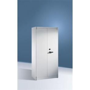 Tűzbiztos szekrény 4 polccal, 2 ajtós, szürke