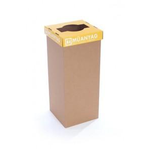 """Szelektív hulladékgyűjtő, újrahasznosított, 60 l, RECOBIN """"Slim"""", sárga"""