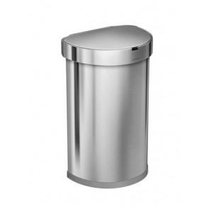 Szenzoros szemetes, rozsdamentes acél, félkör alakú, beépített adagolóval, 45 l, SIMPLEHUMAN