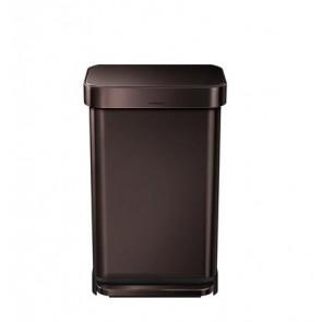 Pedálos szemetes, rozsdamentes, szögletes, 45 l, SIMPLEHUMAN, sötét bronz
