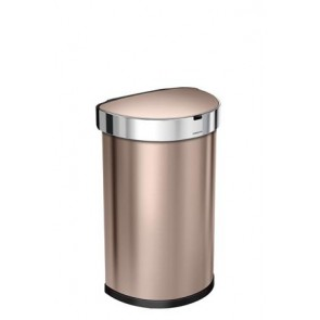 Szenzoros szemetes, rozsdamentes acél, félkör alakú, 45 l, SIMPLEHUMAN, rozé-arany