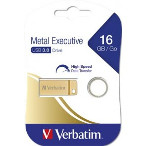 "Pendrive, 16GB, USB 3.0,  VERBATIM ""Executive Metal"" arany"