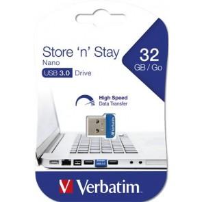 "Pendrive, 32GB, USB 3.0, 80/25MB/sec, VERBATIM ""NANO STORE ´N´ STAY"""