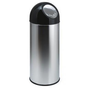 Nyomófedeles szemetes, 55 l, fém, VEPA BINS, ezüst/fekete