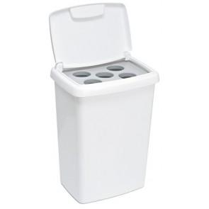 Pohárgyűjtő szemetes, 50 l, műanyag, VEPA BINS, fehér