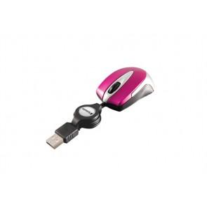 """Egér, vezetékes, optikai, kisméret, USB, VERBATIM """"Go Mini"""", ezüst-ciklámen"""