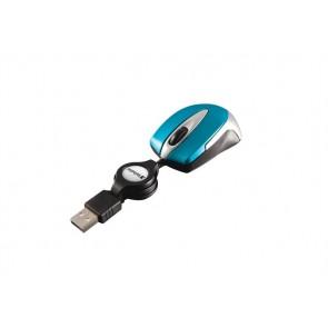 "Egér, vezetékes, optikai, kisméret, USB, VERBATIM ""Go Mini"", ezüst-karibikék"