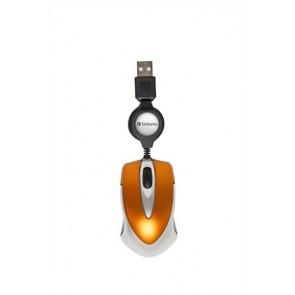 """Egér, vezetékes, optikai, kisméret, USB, VERBATIM """"Go Mini"""", ezüst-lávaszínű"""