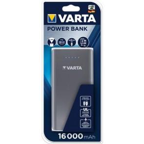 """Hordozható akkumulátor, 16000 mAh, 2 x USB, VARTA """"Power Bank"""", szürke"""