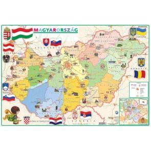 """Könyökalátét, kétoldalas, STIEFEL, """"Gyerek Magyarország közigazgatása/domborzata"""""""