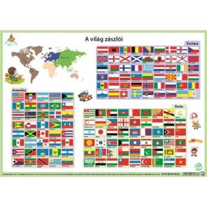 """Könyökalátét, kétoldalas, A3, STIEFEL """"Világ zászlói"""""""