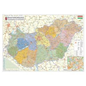 Falitérkép, 100x140 cm, fémléces, Magyarország járástérképe, STIEFEL