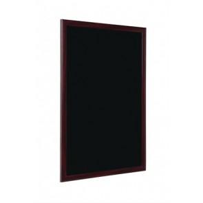 Krétás információs tábla, fekete felület, 90x120 cm, cseresznyefa színű keret