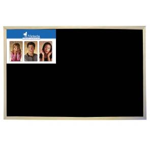 Krétás tábla, fekete felület, nem mágneses, 60x90 cm, fakeret, VICTORIA