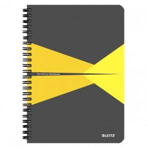 """Spirálfüzet, A5, kockás, 90 lap, laminált karton borító, LEITZ """"Office"""", szürke-sárga"""