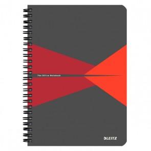 """Spirálfüzet, A5, kockás, 90 lap, laminált karton borító, LEITZ """"Office"""", szürke-piros"""