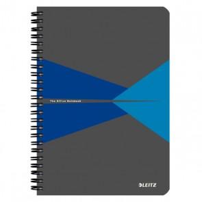 """Spirálfüzet, A5, kockás, 90 lap, laminált karton borító, LEITZ """"Office"""", szürke-kék"""