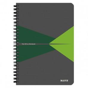 """Spirálfüzet, A5, kockás, 90 lap, laminált karton borító, LEITZ """"Office"""", szürke-zöld"""