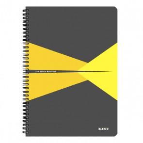 """Spirálfüzet, A4, kockás, 90 lap, laminált karton borító, LEITZ """"Office"""", szürke-sárga"""