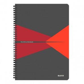 """Spirálfüzet, A4, kockás, 90 lap, laminált karton borító, LEITZ """"Office"""", szürke-piros"""