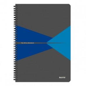 """Spirálfüzet, A4, kockás, 90 lap, laminált karton borító, LEITZ """"Office"""", szürke-kék"""